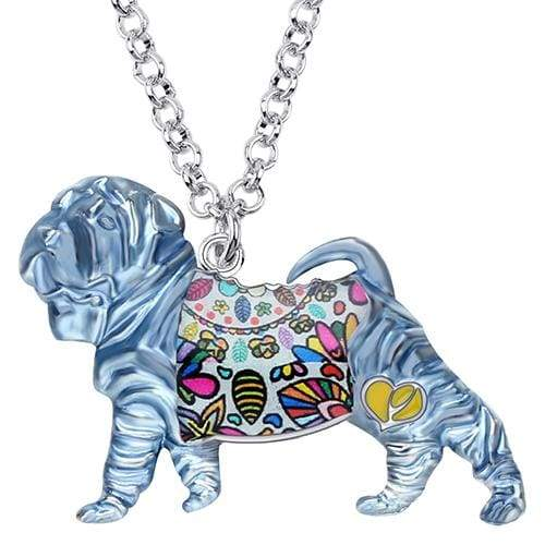 Shar Pei Enamel Necklace Necklace Blue Tiny Beast Designs