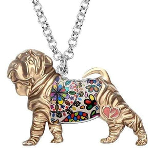 Shar Pei Enamel Necklace Necklace Golden Tiny Beast Designs