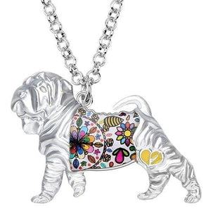 Shar Pei Enamel Necklace Necklace White Tiny Beast Designs