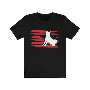 Shiba Inu American Stripes Shirt T-Shirt Black / S Tiny Beast Designs