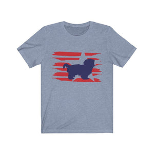 Shih Tzu American Stripes Shirt T-Shirt Heather Blue / S Tiny Beast Designs