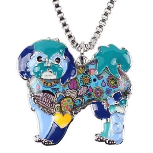 Shih Tzu Enamel Necklace Necklace Blue Tiny Beast Designs
