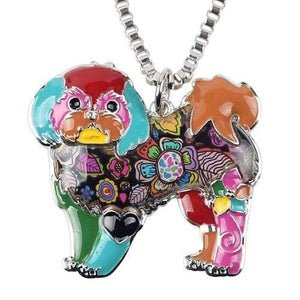 Shih Tzu Enamel Necklace Necklace Multicolor Tiny Beast Designs