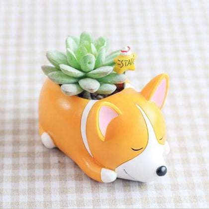 Sleepy Corgi Plant Pot