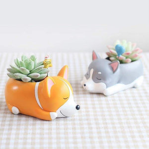 Sleepy Husky Plant Pot Planter Tiny Beast Designs