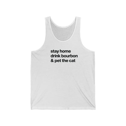 """Stay Home, Drink Bourbon, & Pet the Cat"" Unisex Tank Top Tank Top Navy / XS Tiny Beast Designs"