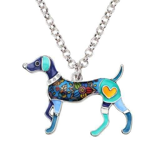 Whippet Enamel Necklace Necklace Blue Tiny Beast Designs