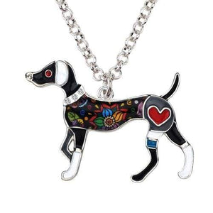 Whippet Enamel Necklace Necklace Grey Tiny Beast Designs