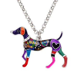 Whippet Enamel Necklace Necklace Purple Tiny Beast Designs