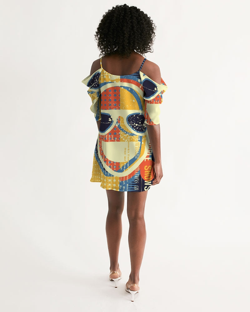 Championship Pop Art Collection Women's Open Shoulder A-Line Dress