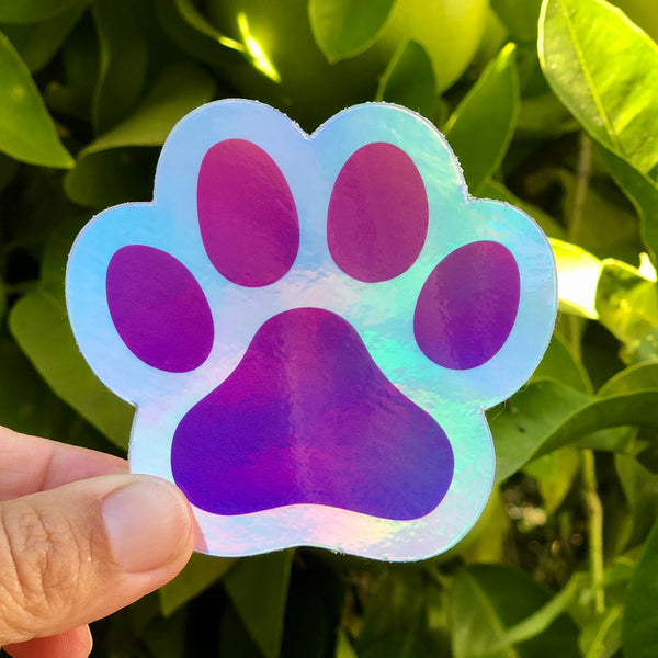 Dog Paw Holographic Sticker | Vinyl Die-Cut Sticker for Dog Lovers
