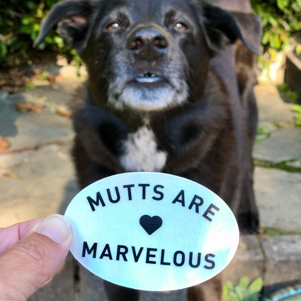 Mutts are Marvelous Holographic Sticker | Vinyl Die-Cut Sticker for Dog Lovers
