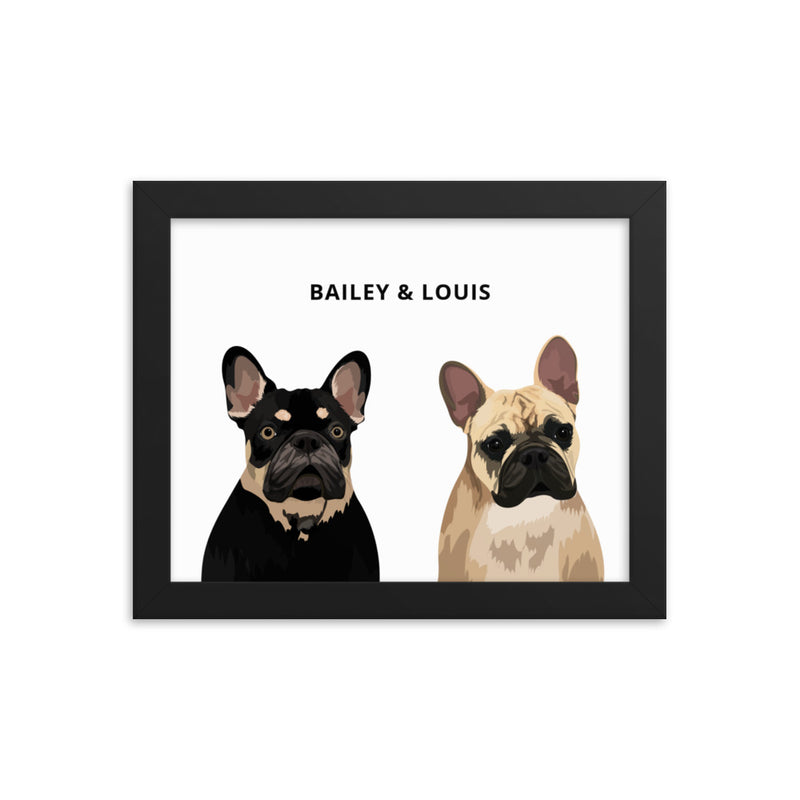 Custom Pet Portrait - Two Pets (Framed)