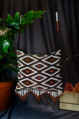 Brown, White & Bronze By Mother Sierra - Huichol Jewelry - Native American Jewelry