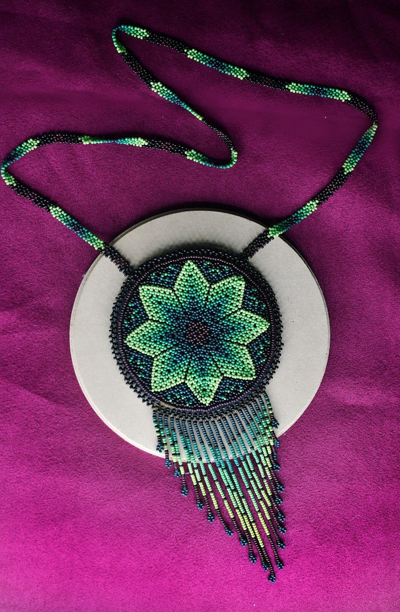 Peyote NecklaceBag By Mother Sierra - Huichol Jewelry - Native American Jewelry