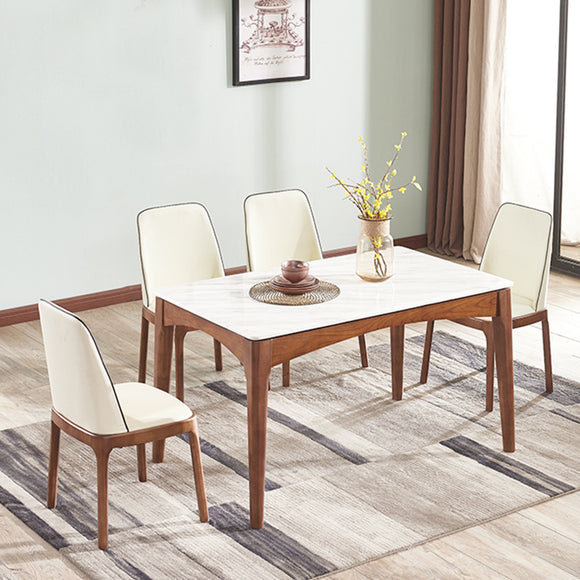 MerryRabbit – 實木大理石餐桌150CM MR-A09白色(不包括餐椅)Solid wood Marble Dining table 150CM (excluding dining chairs)