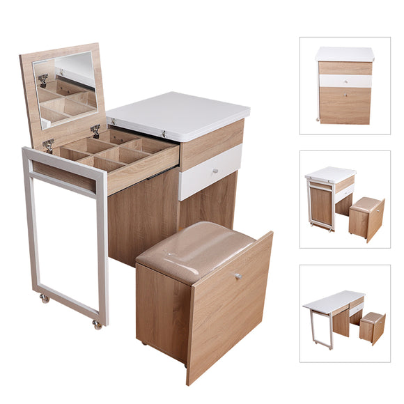 MerryRabbit -多功能伸縮梳妝檯書桌MR-306 Extenable Dressing table Computer desk Writing desk Office desk with storage cabinet stool