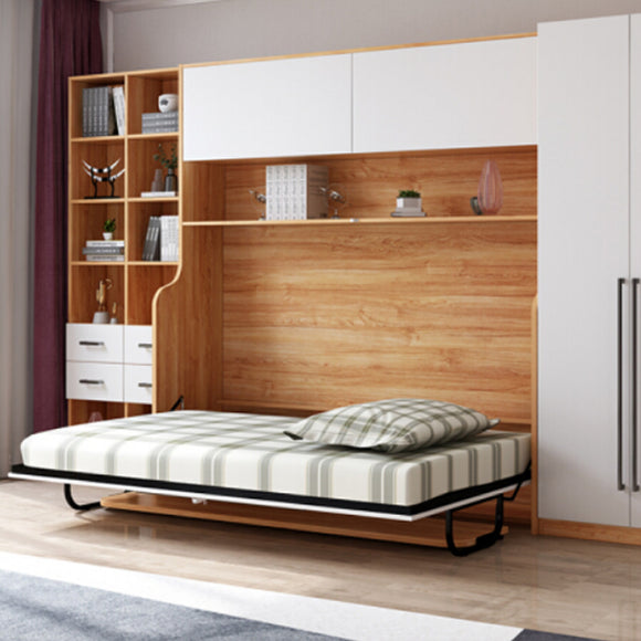 MerryRabbit - 多功能帶書桌書櫃隱形側翻床 90cm單人床 MR-YXC03  Multifunctional WallBed with Foldable Table and Cabinet 90cm, single bed