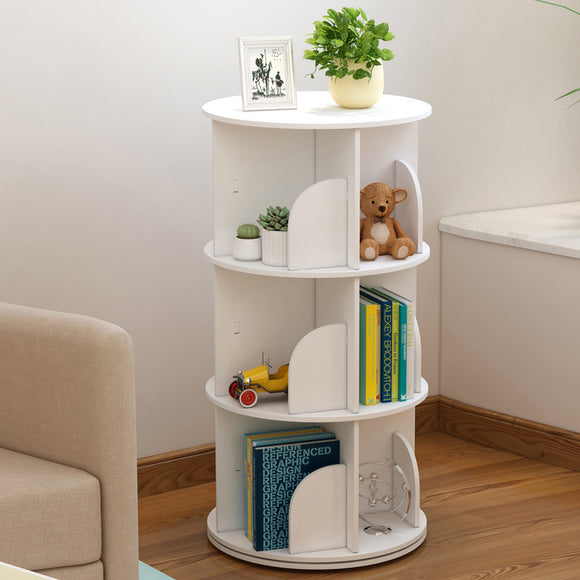 MerryRabbit - 落地式創意360度旋轉書架3層 MR-360_3  360 degree rotation bookshelf 3-tier
