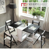 MerryRabbit – 實木可折疊餐桌連四椅子套裝MR-T115 Merryrabbit - Solid wood Folding table with 4 Folding chairs