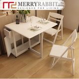 MerryRabbit – 實木可折疊餐桌連四椅子套裝MR-805 Solid wood folding table with 4 folding chair