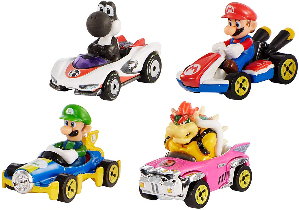 Hot Wheels Mario Kart Characters and Karts as Die-Cast Cars, Multicolor