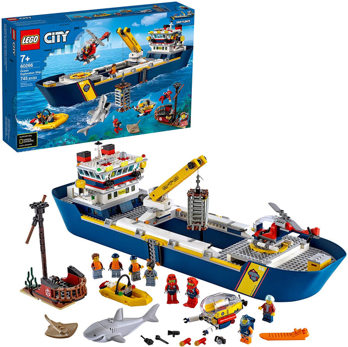 LEGO City Ocean Exploration Ship 60266, Toy Exploration Vessel, Mini Helicopter, Submarine, Shipwreck with Treasure, Lifeboat, Stingray, Shark, Plus 8 Minifigures, New 2020 (745 Pieces)