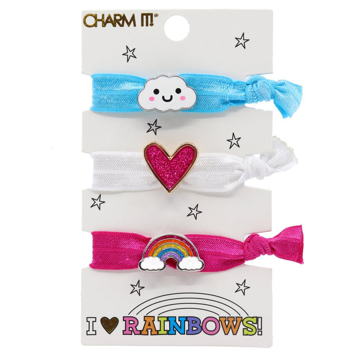 Rainbow Hair Tie with Charms Set