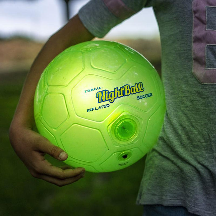LED Nightball Inflated Soccer Ball  Avail in Blue or Green