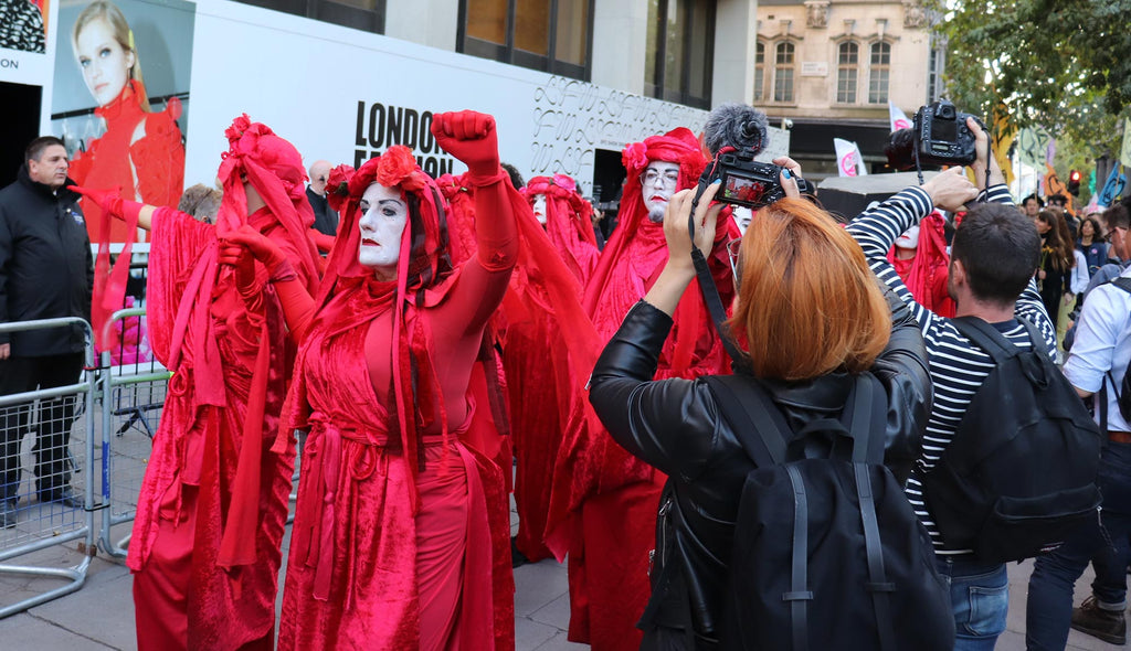 Extinction rebellion at London Fashion Week
