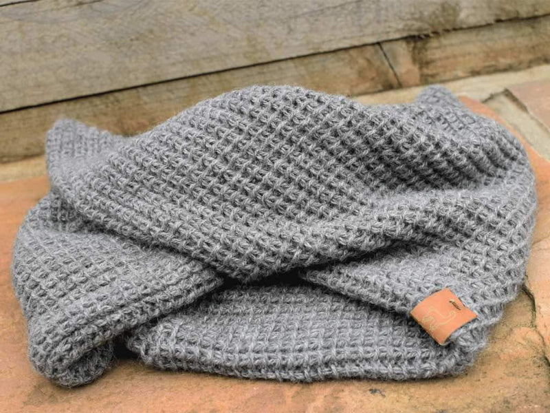 100% Alpaca DK loop Knit Grey Snood-Ted & Bessie-MAMOQ