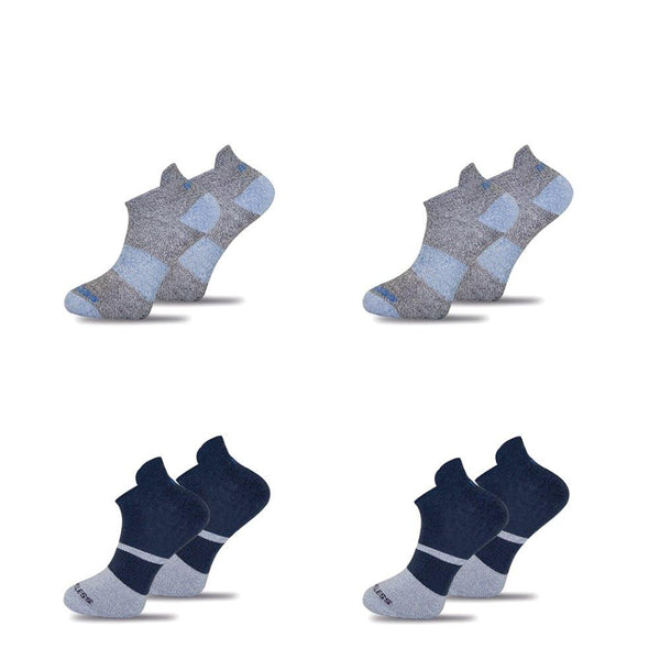 4x Mixed Functional Navy & Grey Twisted Cotton Ankle Sock-Stand4 Socks-MAMOQ