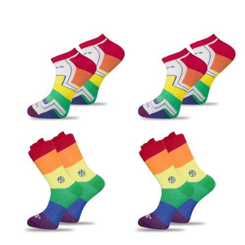 4x Pack Bundle - LGBT - Homeless Calf & Ankle Bamboo Sock-Stand4 Socks-MAMOQ