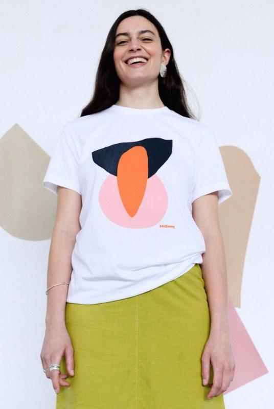 Abstract Print Unisex White Organic Cotton T-Shirt-Birdsong-MAMOQ