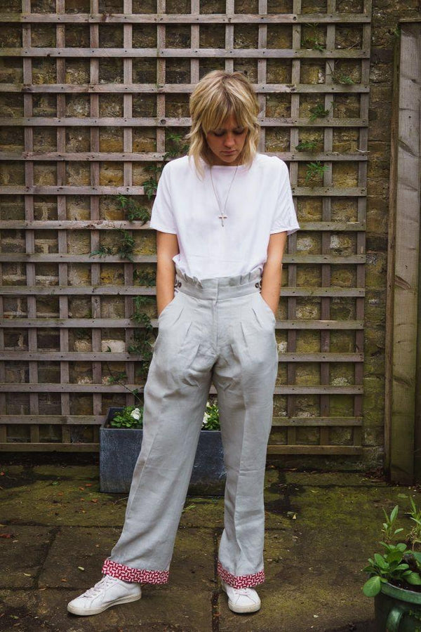 Alice Linen Trousers - Grey-Gillian June-MAMOQ