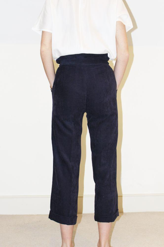 Alice Trousers - Navy Corduroy-Gillian June-MAMOQ