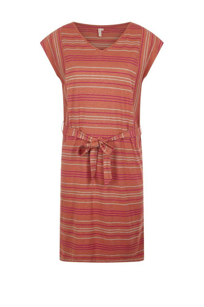 Alie Striped Coral Organic Dress-Komodo-MAMOQ