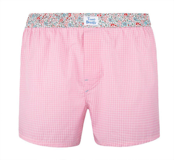 Aloha Pink Checked Boxer Short-True Boxers-MAMOQ