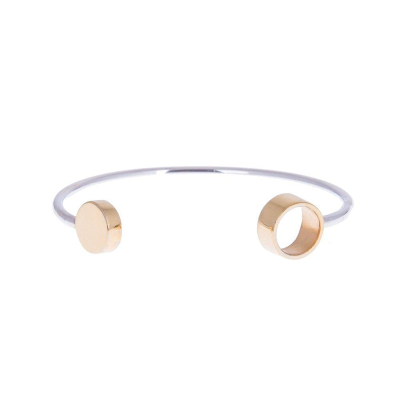 Amati Negative Space Silver and Gold Plated Bangle-ANUKA Jewellery-MAMOQ