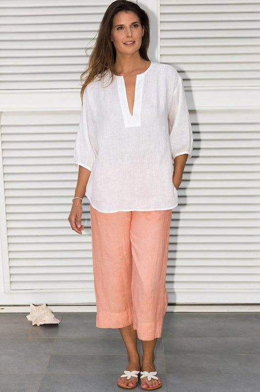 Amira Light Peach Cropped Linen Trousers-Aspiga-MAMOQ