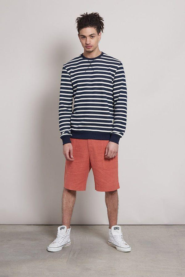 Amsterdam Striped Organic Cotton Crew Neck Sweater-Komodo-MAMOQ