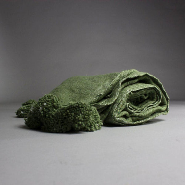 Anas Pine Green Cotton Moroccan Throw-Harfi-MAMOQ