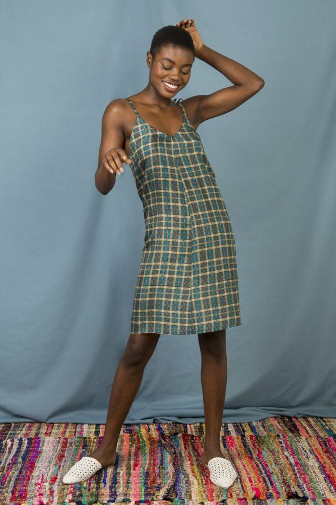 Anna Slip Dress in Green Blue Checks-Mayamiko-MAMOQ