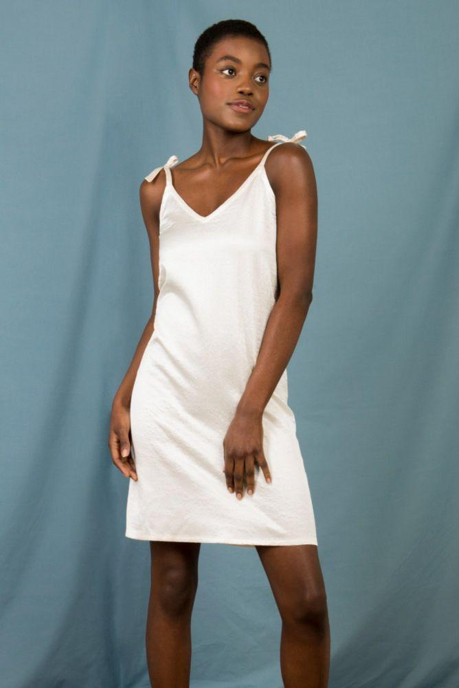 Anna Slip Dress in Structured Cream Silk-Mayamiko-MAMOQ