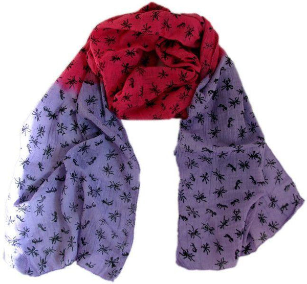 Ant Print Scarf Lilac/Cerise-Where Does It Come From?-MAMOQ