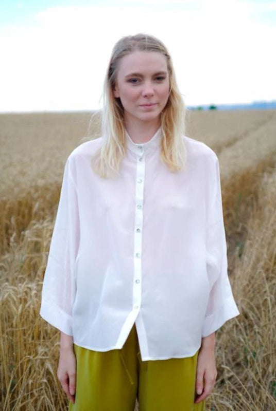 April White High-neck Silk Blouse-Shirt-Rakha-MAMOQ