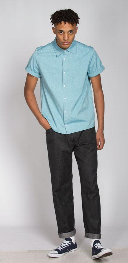 Aqua Organic Cotton Short Sleeve Button Up Shirt-Rozenbroek-MAMOQ