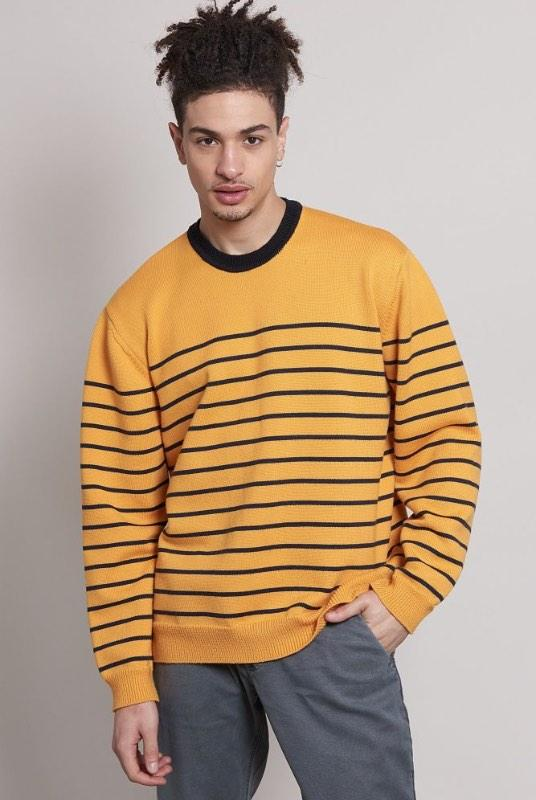 Aron Oversized Striped Merino Wool Jumper-Komodo-MAMOQ