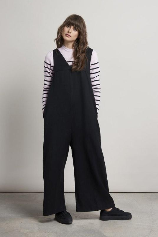 Asa Black Tencel V-Neck Jumpsuit-Komodo-MAMOQ