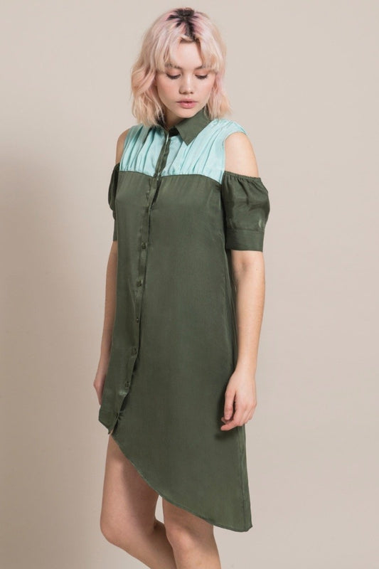 Asymmetry Green Cupro Short Sleeve Dress-blonde gone rogue-MAMOQ